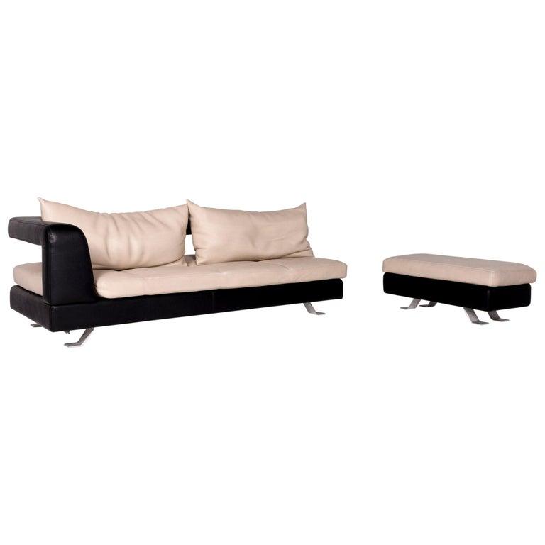 Tremendous Formenti Leather Sofa Set Cream Dark Brown 1 Three Seat 1 Stool Inzonedesignstudio Interior Chair Design Inzonedesignstudiocom