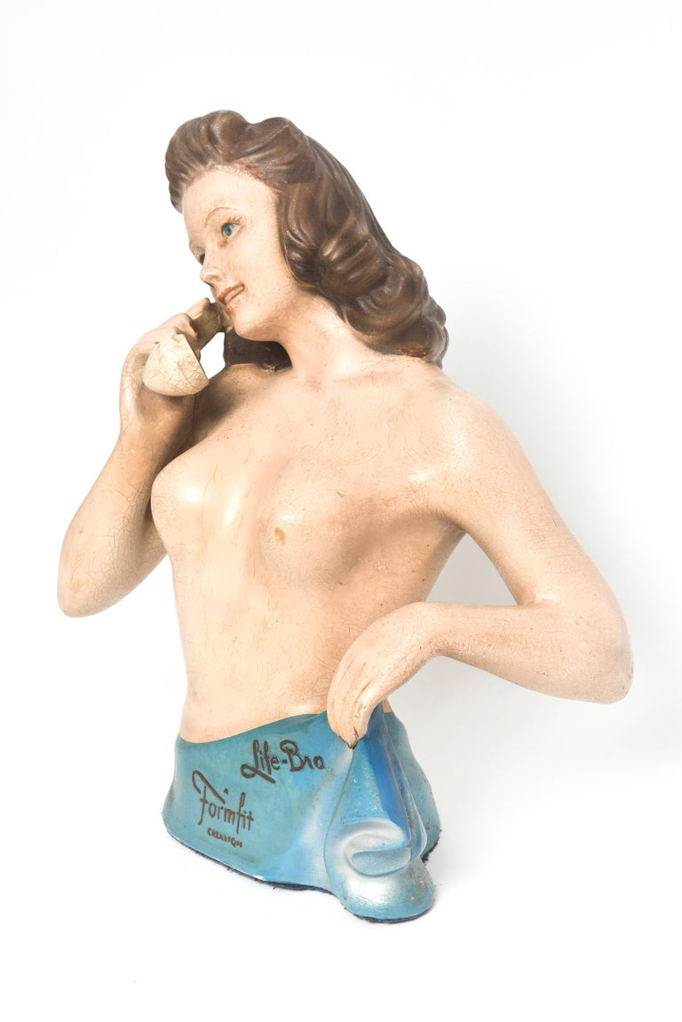 Rare lingerie store mannequin display from the 1940s.  This pin up style lady is a wonderful countertop lingerie store display advertising FORMFIT LIFE-BRA. This lady dates from the 1940s and would have been sitting on the counter of a retail or