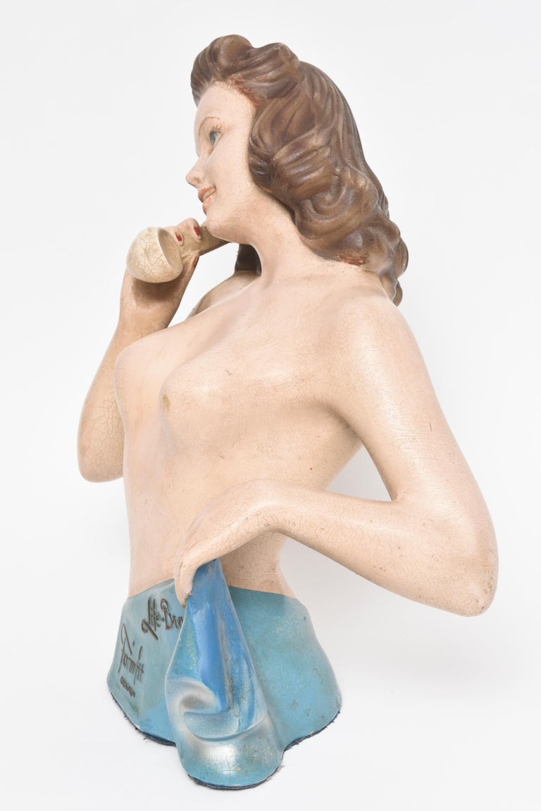 19th Century Formfit Life Bra Lingerie Advertising Countertop Store Display Mannequin For Sale