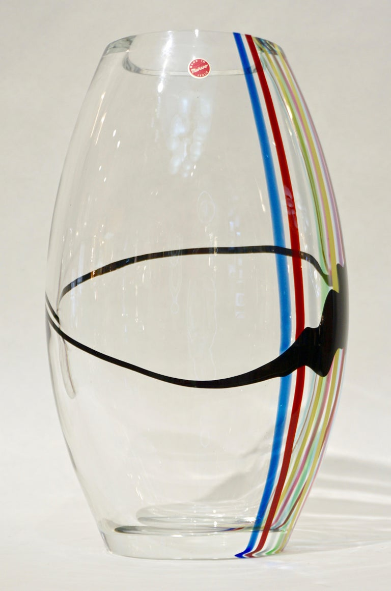 Formia 1970 Italian Tall Yellow Green Red Blue Crystal Murano Glass Pop Art Vase For Sale 5