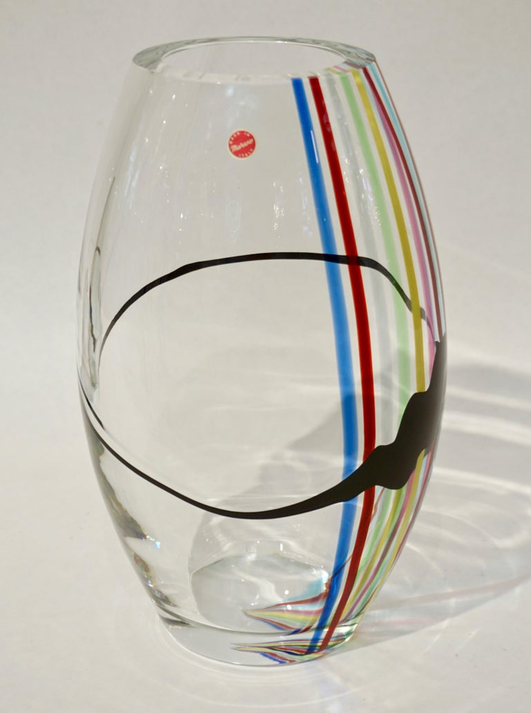 Formia 1970 Italian Tall Yellow Green Red Blue Crystal Murano Glass Pop Art Vase In Good Condition For Sale In New York, NY