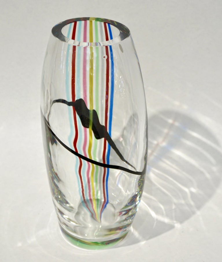Formia 1970 Italian Tall Yellow Green Red Blue Crystal Murano Glass Pop Art Vase For Sale 1