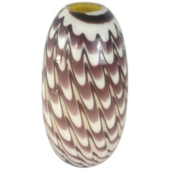 Formia 1970s Fenicio Feather Decorated Purple Brown Murano Art Glass Vase