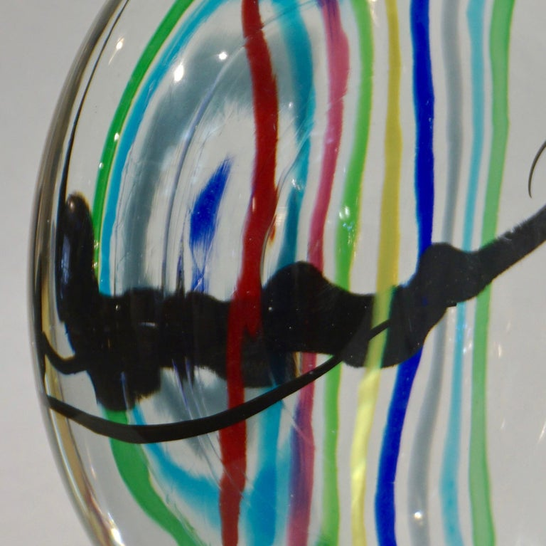 Formia 1970s Italian Yellow Red Blue Crystal Murano Glass Modern Round Sculpture For Sale 5