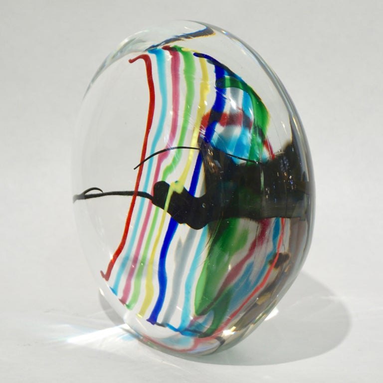 Formia 1970s Italian Yellow Red Blue Crystal Murano Glass Modern Round Sculpture For Sale 7