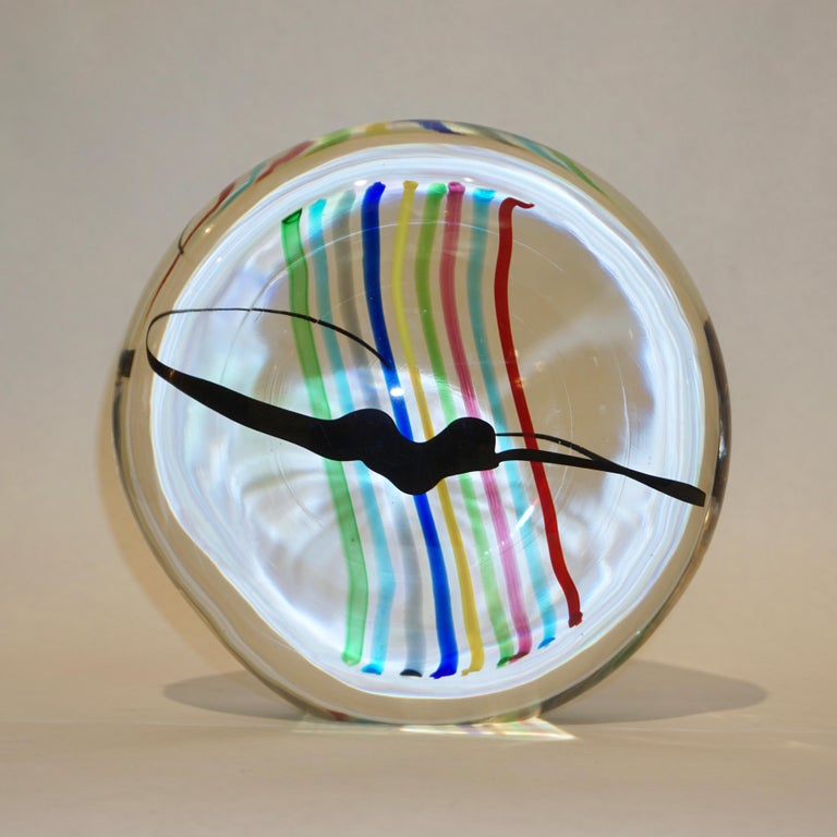 Formia 1970s Italian Yellow Red Blue Crystal Murano Glass Modern Round Sculpture For Sale 8