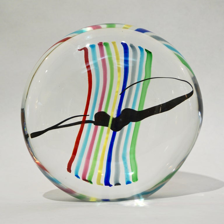 Formia 1970s Italian Yellow Red Blue Crystal Murano Glass Modern Round Sculpture For Sale 12