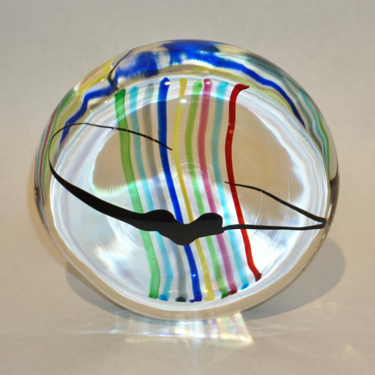 Late 20th Century Formia 1970s Italian Yellow Red Blue Crystal Murano Glass Modern Round Sculpture For Sale