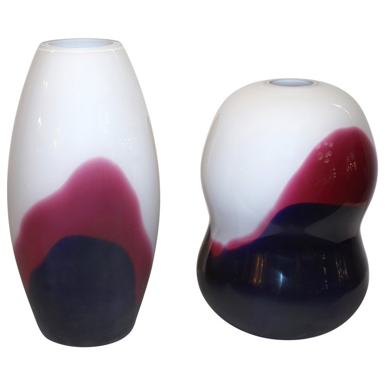 Formia 1980 Italian Vintage Purple Blue White Murano Glass Modern Design Vases For Sale