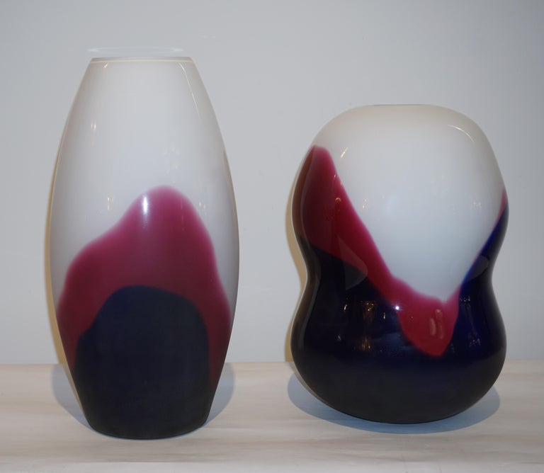 Formia 1980 Italian Vintage Purple Blue White Murano Glass Sleek Design Vases For Sale 2
