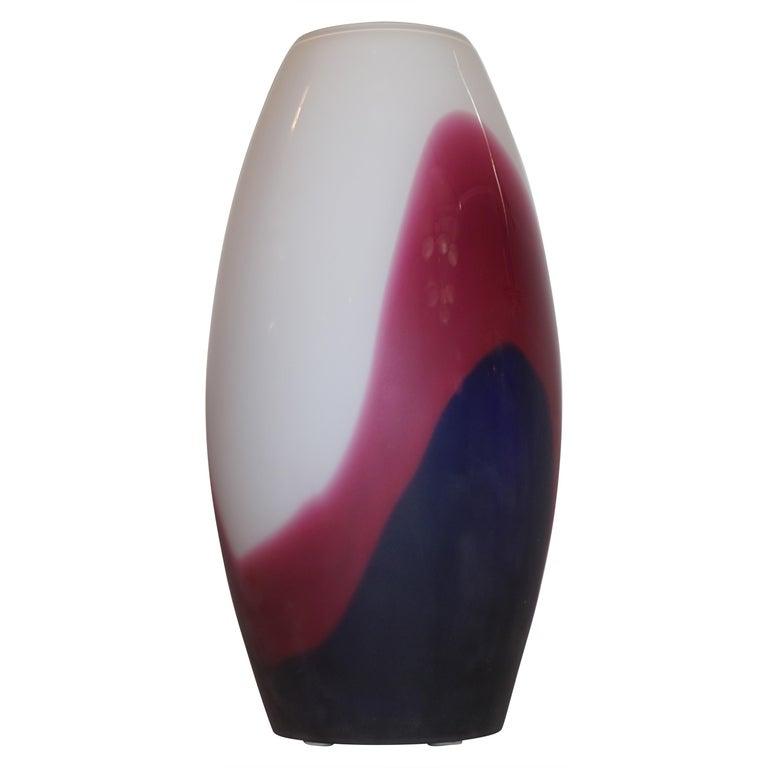 Formia 1980 Italian Vintage Purple Blue White Murano Glass Sleek Design Vases For Sale