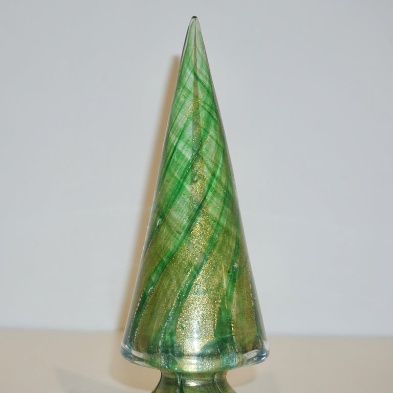 Formia 1980s Italian Vintage Green and Gold Murano Glass Tree Sculpture In Excellent Condition For Sale In New York, NY