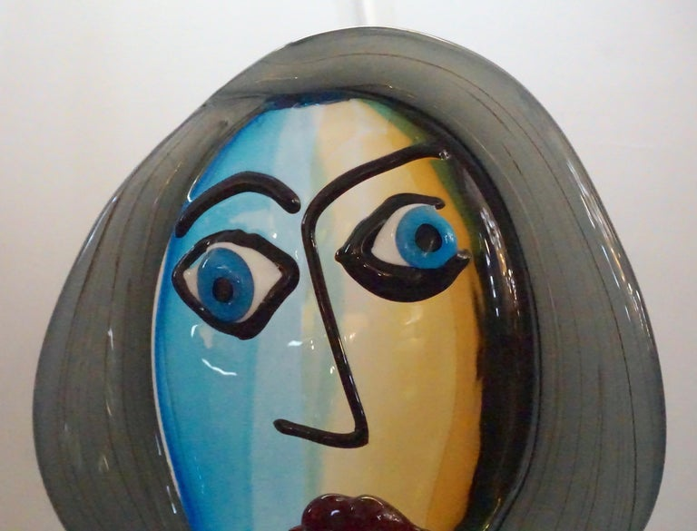 Formia 1980s Modern Italian Colored Murano Glass Woman Head Sculpture For Sale 3