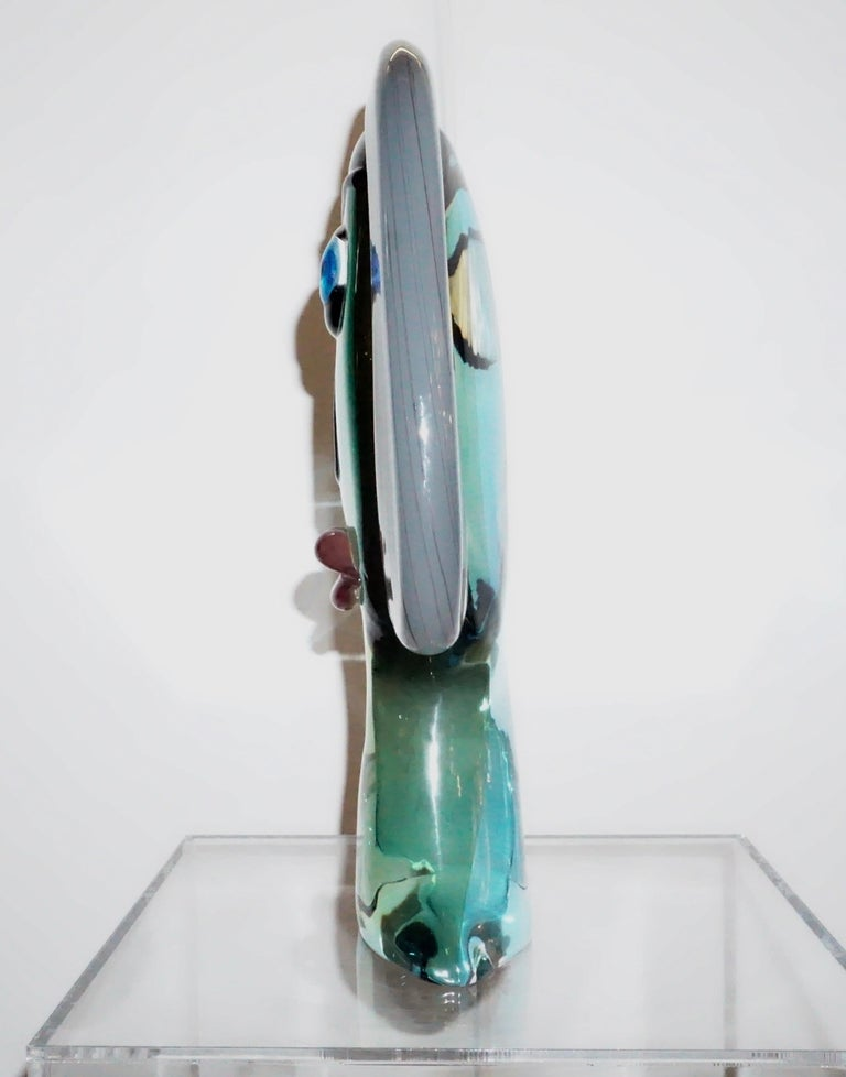 Hand-Crafted Formia 1980s Modern Italian Colored Murano Glass Woman Head Sculpture For Sale