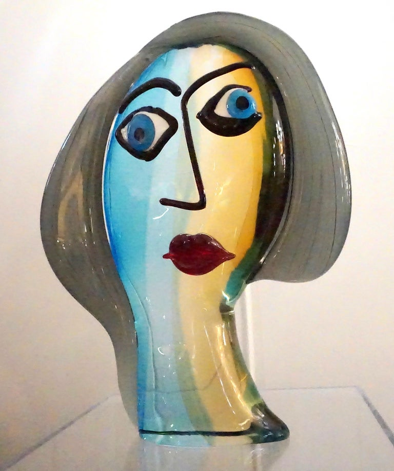 Art Glass Formia 1980s Modern Italian Colored Murano Glass Woman Head Sculpture For Sale