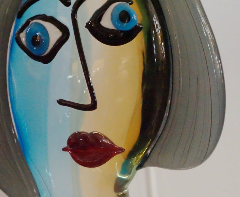 Formia 1980s Modern Italian Colored Murano Glass Woman Head Sculpture For Sale 1
