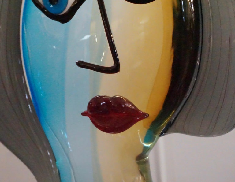 Formia 1980s Modern Italian Colored Murano Glass Woman Head Sculpture For Sale 2