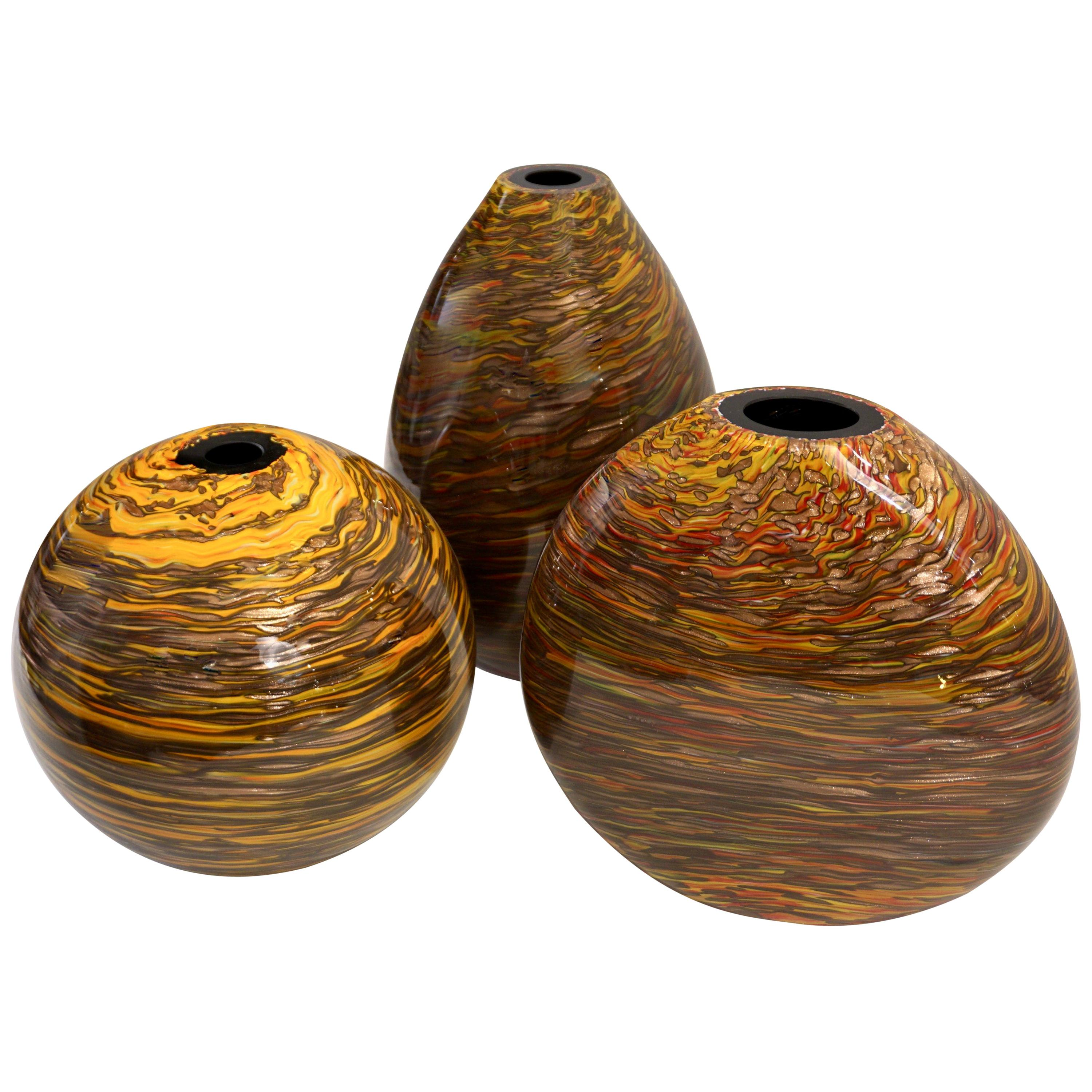 Formia 1980s Modern Set of Three Brown Yellow Red Orange Gold Murano Glass Vases