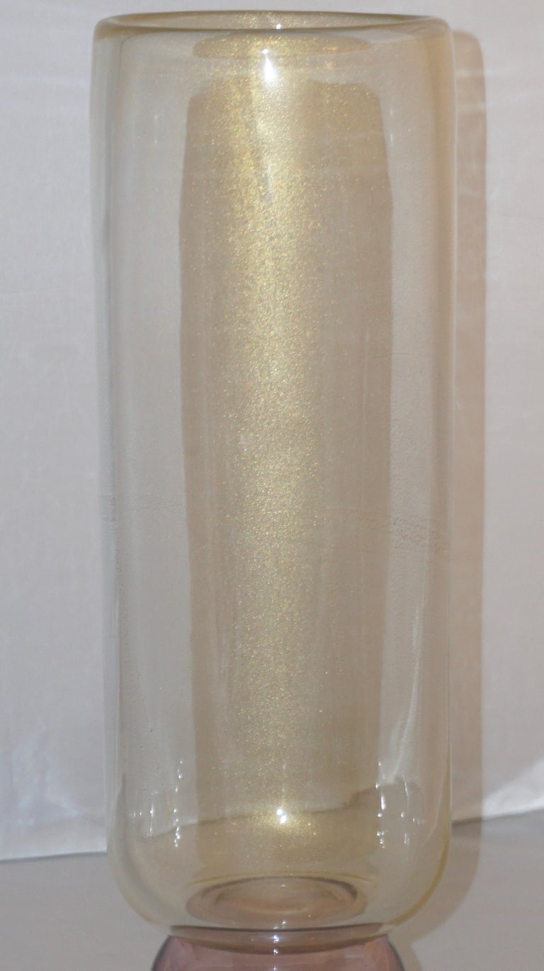 Formia 1990s Italian Pair of Tall Rose and Gold Crystal Murano Glass Round Vases For Sale 9