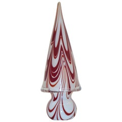 Formia Italian Vintage Murano Glass White and Red Christmas Tree, 1980s