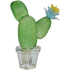 Formia Marta Marzotto Vintage Limited Edition Murano Glass Green Cactus Plant