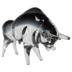 Formia Vetri Di Murano Italy, Large Clear & Smoke Grey Glass Charging Bull