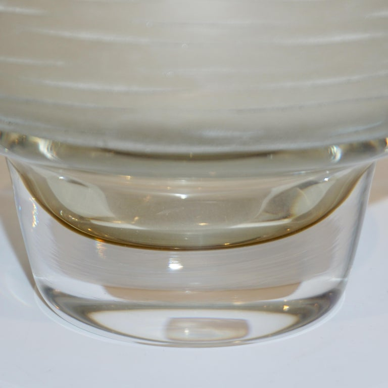 Formia Vintage Italian Amber Champagne Battuto Frosted Murano Art Glass Vase For Sale 2