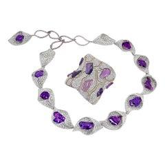 FORMS GRS Certified Fancy Sapphire Diamond Set