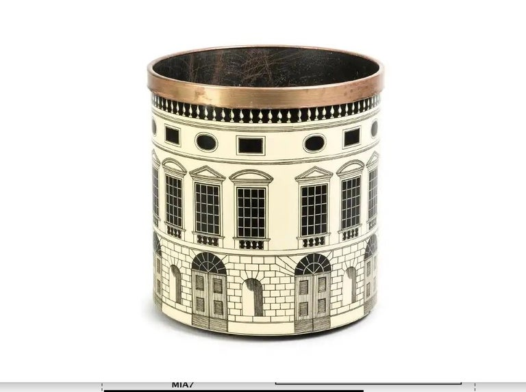 Italian Fornasetti 1950s Waste Basket/ Trash Can For Sale