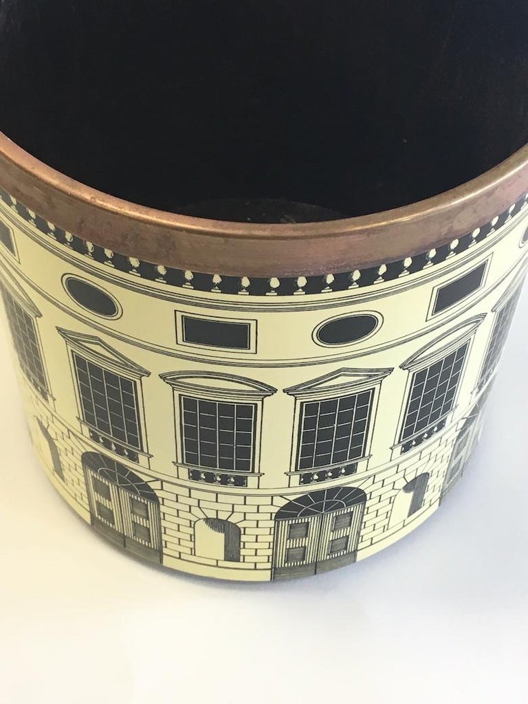 Fornasetti 1950s Waste Basket/ Trash Can In Good Condition For Sale In West Palm Beach, FL