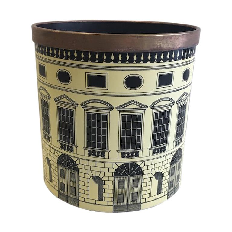 Fornasetti 1950s Waste Basket/ Trash Can For Sale