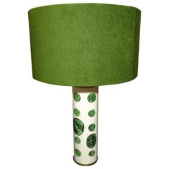 Fornasetti 1970s Green White Italian Table Lamp with a Green Shade, Label
