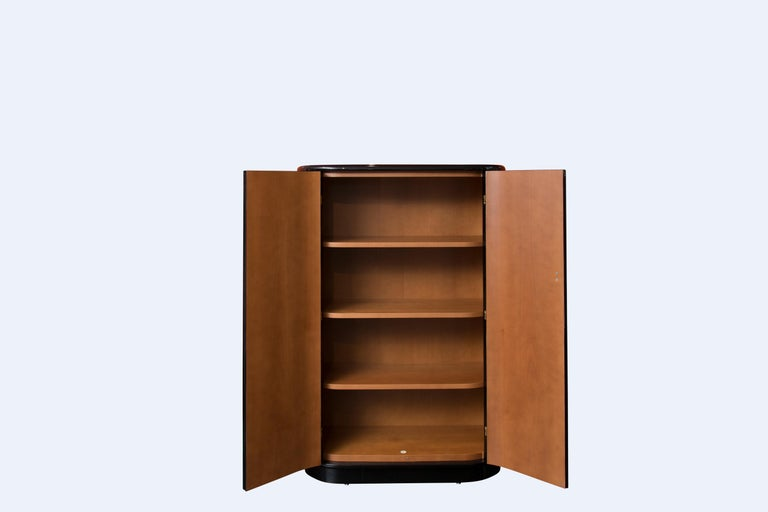 Lacquered Fornasetti Acrobati Curved Cabinet For Sale