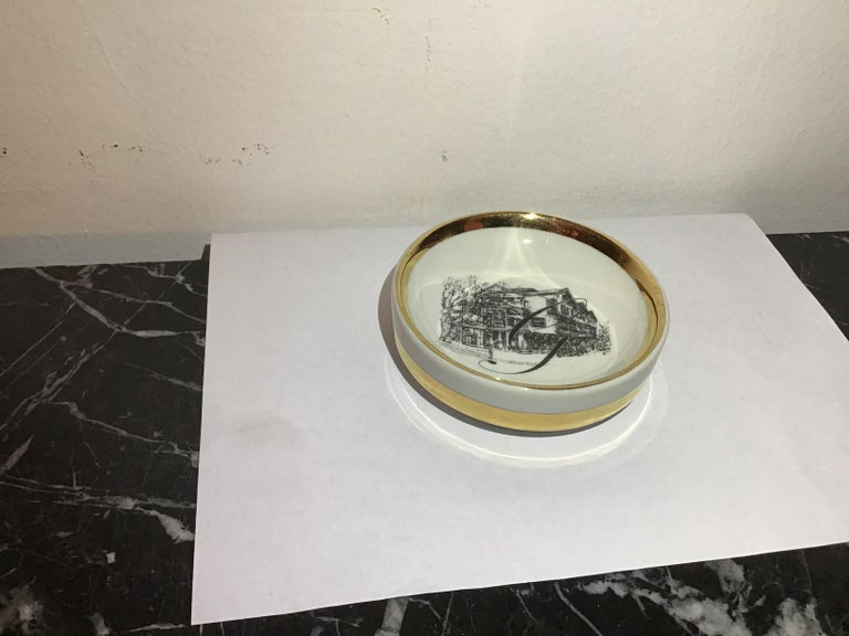 Italian Fornasetti Ashtray Porcelain 1950 Italy For Sale
