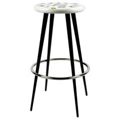 Fornasetti Bar Stool Farfalle Butterflies Hand Colored on White Wood