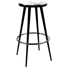 Fornasetti Bar Stool Tergonomico Handcrafted Black and White Wood