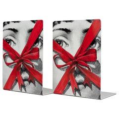 Fornasetti Bookends Gift Tema E Variazioni N. 171 Black/White/Red Metal