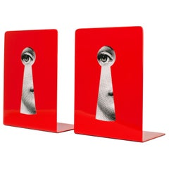Fornasetti Bookends Serratura on Red Metal