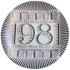 """Fornasetti """"Calendar Plate n.14"""" Porcelain 1981 Italy"""