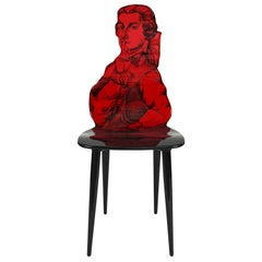 Fornasetti Chair Don Giovanni Mozart Wood Red