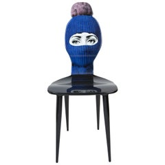 Fornasetti Chair Lux Gstaad Blue Ponpon Pink Hand Painted Wood