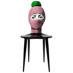Fornasetti Chair Lux Gstaad Hand Painted Pink Ponpon Green Wood