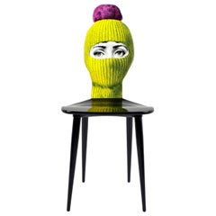 Fornasetti Chair Lux Gstaad Yellow Ponpon Bright Pink Hand Painted Wood