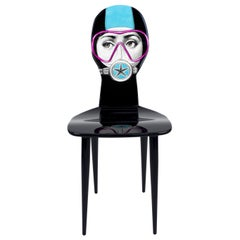 Fornasetti Chair Silviasub Scuba Mask Handcrafted Wood