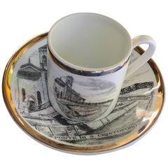 "Fornasetti Coffee Cup Porcelain Gold ""I Ponti Di Milano ""Ponte San Cristoforo"""