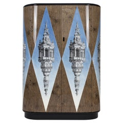 Fornasetti Curved Cabinet Cuspide Celeste Architectural Motif Wood