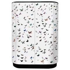 Fornasetti Curved Cabinet Farfalle Butterflies Hand Colored on White Wood