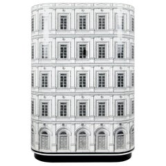 Fornasetti Curved Cabinet Palazzo Architectural Motif Black and White Wood