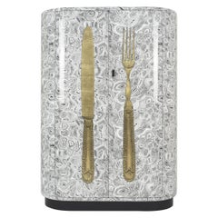 Fornasetti Curved Cabinet Posate Cutlery Gold/Malachite Black and White Wood