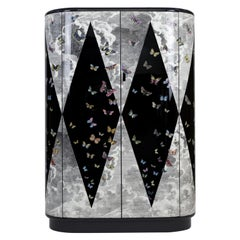 Fornasetti Curved Cabinet Volo Magico Butterflies Hand Colored Wood